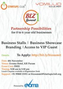 Yomillio Startups Club Biz Summit at Evoma partnerships