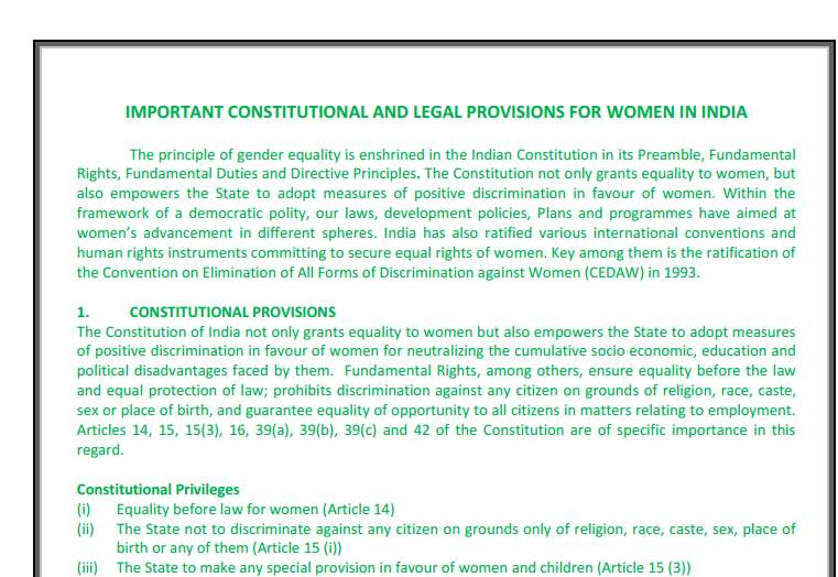 Constitutional rights of women