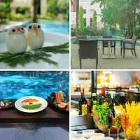 poolside breakfast at evoma bangalore